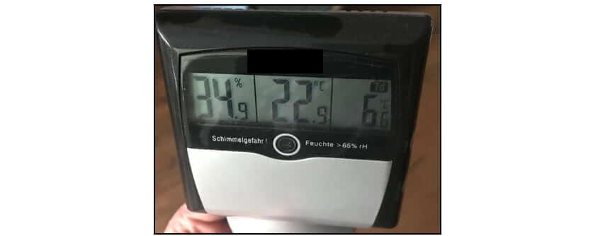 Überprüfen des Raumklimas mit einem Thermohygrometer - I-O-K