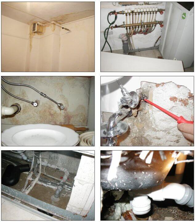 Feuchteschäden z.B. bedingt durch undichte Heizungsleitungen; undichte Frischwasserleitungen oder ein undichtes Eckventil bzw. einen undichten Siphon – © I-O-K