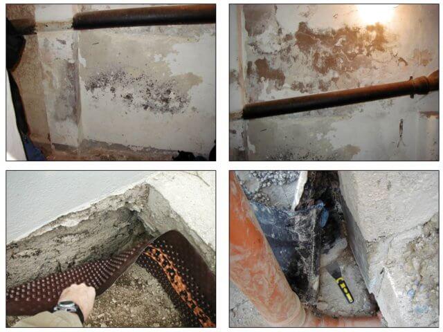 Feuchteschäden im Keller (nasse Kellerwände) als Folge einer unzureichenden bzw. defekten Außenabdichtung – © I-O-K