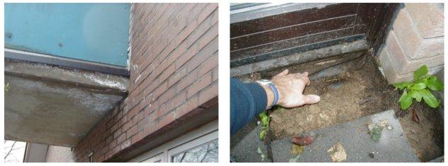 Feuchteschäden im Balkon- und Terrassenbereich, bedingt durch eine fehlende/unzureichende bzw. undichte Abdichtung – © I-O-K